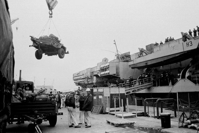 Loading HMS Hermes