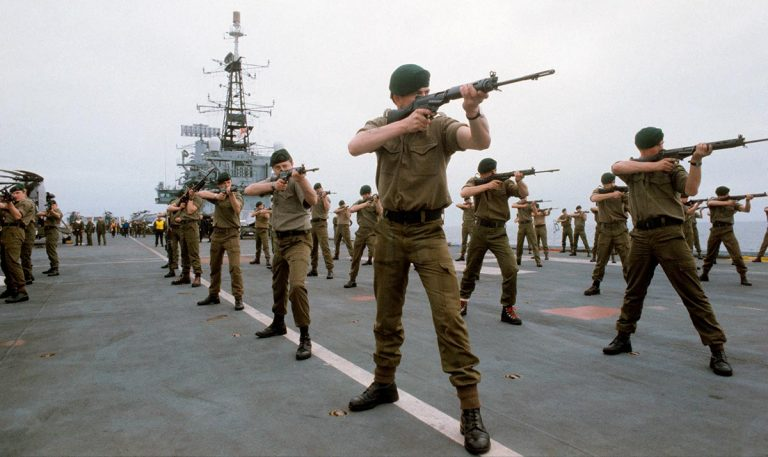 Soldiers on board Hermes in 1982